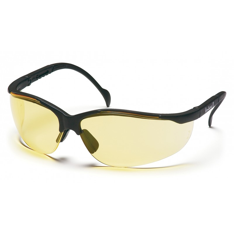 Black Frame Safety Glasses : Pyramex Safety - Venture II - Black Frame/Amber Lens