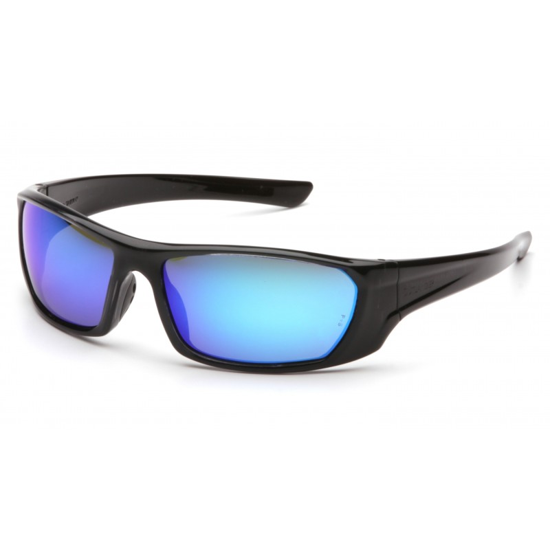 Pyramex Safety - Outlander - Black Frame/Ice Blue Mirror Lens Polycarbonate Safety Glasses - 12 / BX