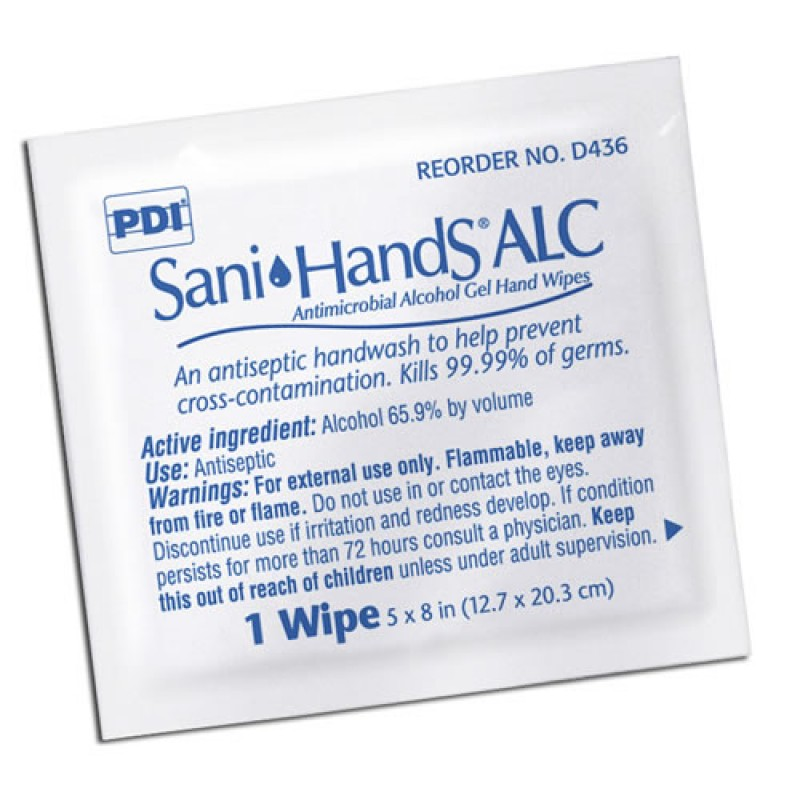 "PDI D43600 Sani-Hands ALC - Individual Packets, 8"" x 5.3"", 100/BX - Enviro Safety Products - GEMS"