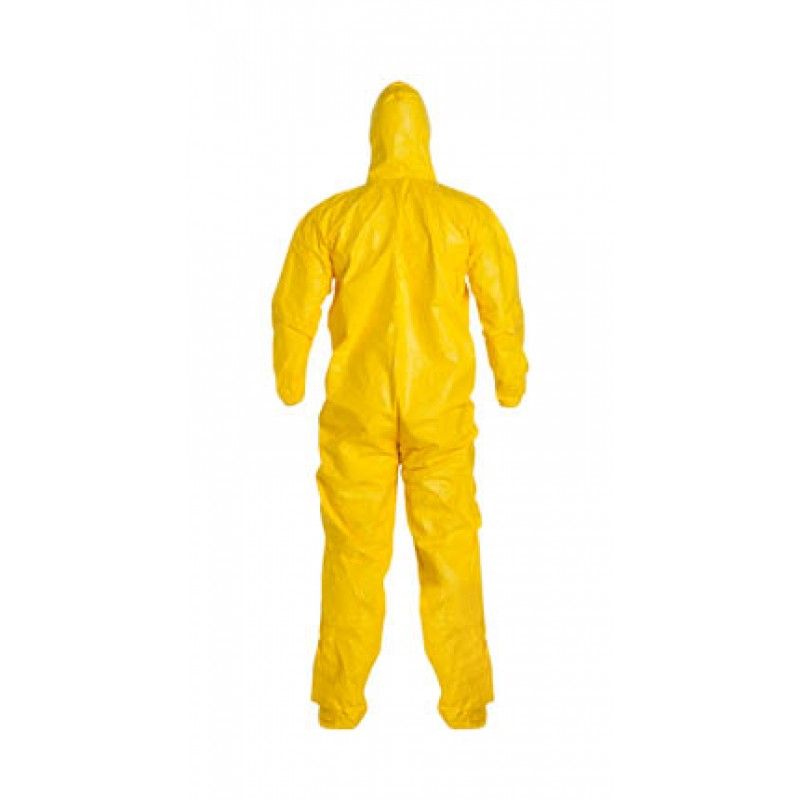 DuPont™ Tychem QC122S YL QC Coveralls Hood Boots Elastic Wrists Serged Seams Yellow (12/Case)